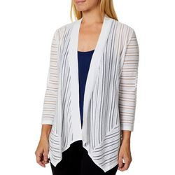 Kasper Womens Sheer Stripe Ribbed Cardigan