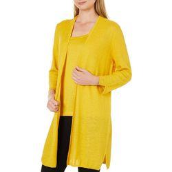 Kasper Womens Textured Longline Cardigan
