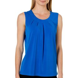 Kasper Womens Solid Pleated Sleeveless Top