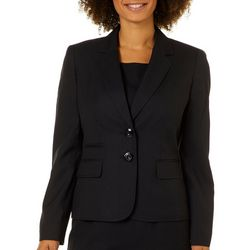 Kasper Womens Solid Double Button Blazer