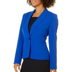 Famous Maker Womens Solid Single Button Blazer