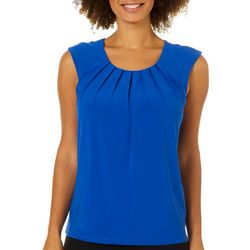 Famous Maker Womens Solid Pleated Sleeveless Top
