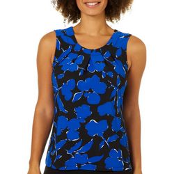 Famous Maker Womens Floral Pleated Sleeveless Top