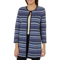 Famous Maker Womens Abstract Striped Sweater Cardigan