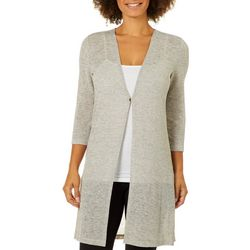 Famous Maker Womens Solid Mesh Cardigan