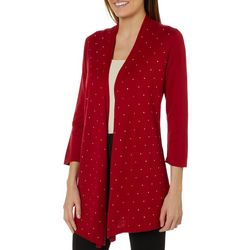 Kasper Womens Studded Open Front Cardigan