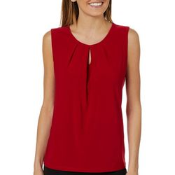 Kasper Womens Solid Keyhole Sleeveless Top
