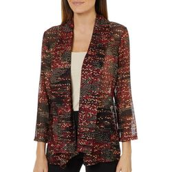 Famous Maker Womens Checkered Foil Open Front Cardigan