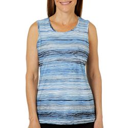 Kasper Womens Embroidered Waves Striped Sleeveless Top
