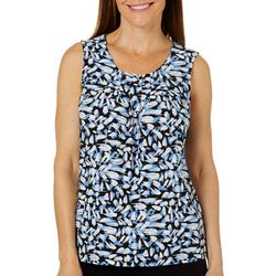 Kasper Womens Petal Print Pleated Neckline Sleeveless Top