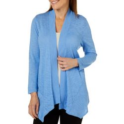 Kasper Womens Solid Open Front Ribbed Cardigan