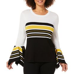 Melissa Paige Womens Striped Bell Sleeve Sweater