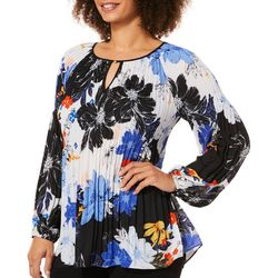 Melissa Paige Womens Pleated Floral Keyhole Top