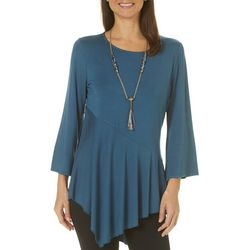 Melissa Paige Womens Necklace & Solid Asymmetrical Top