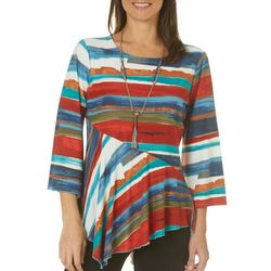 Melissa Paige Womens Necklace & Striped Asymmetrical Top