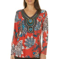 Melissa Paige Womens Boho Floral Embroidered Top
