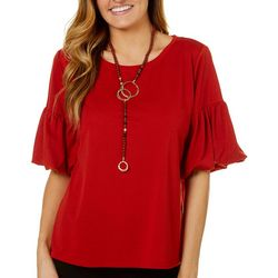 Melissa Paige Womens Necklace & Bell Sleeve Top