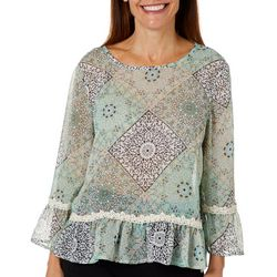 Melissa Paige Womens Sheer Patchwork Lace Trim Top