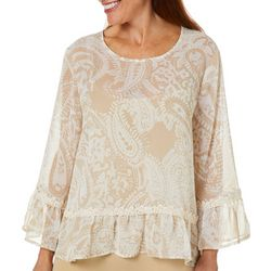Melissa Paige Womens Sheer Paisley Lace Trim Top