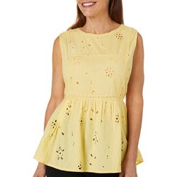 Melissa Paige Womens Solid Eyelet Babydoll Sleeveless Top