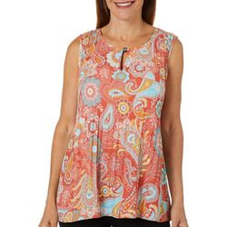 Melissa Paige Womens Pleated Paisley Sleeveless Top