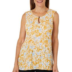Melissa Paige Womens Pleated Floral Sleeveless Top