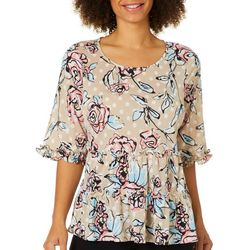 Melissa Paige Womens Floral Dot Tiered Top