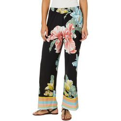 Melissa Paige Womens Floral Striped Bottom Palazzo Pants