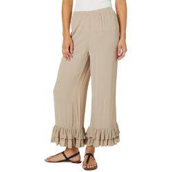 Melissa Paige Womens Solid Ruffle Hem Soft Pants