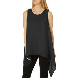 Melissa Paige Womens Solid Sharkbite Hem Sleeveless Top