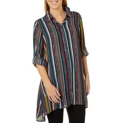 Melissa Paige Womens Roll Tab Stripe Print Tunic Top