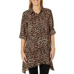 Melissa Paige Womens Roll Tab Animal Print Tunic
