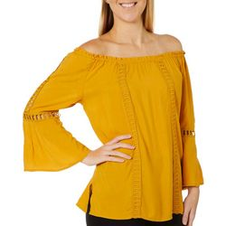 Melissa Paige Womens Solid Peasant Bell Sleeve Top