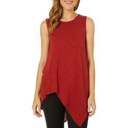 Melissa Paige Womens Solid Asymmetrical Sleeveless Top