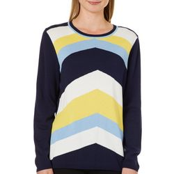 Melissa Paige Womens Colorblock Chevron Tie Back Sweater