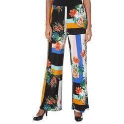 Melissa Paige Womens Patched Floral Stripe Palazzo Pants