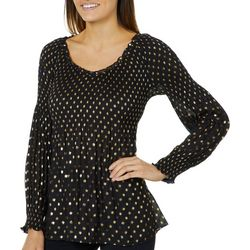 Melissa Paige Womens Glitzy Dot Smocked Top