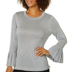 Melissa Paige Womens Glitzy Lurex Bell Sleeve Sweater