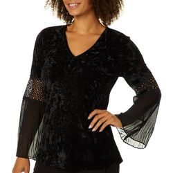 Melissa Paige Womens Crushed Velvet Bell Sleeve Top