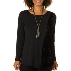 Melissa Paige Womens Necklace & Velvet Panel Top