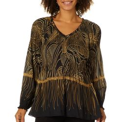 Melissa Paige Womens Abstract Pleated Long Sleeve Top