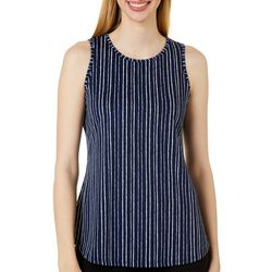 Como Voyage Womens Sleeveless Striped Round Neck Top