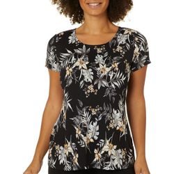 Como Voyage Womens Floral Round Neck Short Sleeve Top