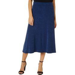 Como Voyage Womens Solid Pull On Elastic Waist Skirt