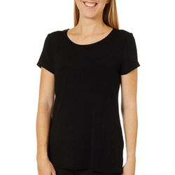 Como Voyage Womens Solid Round Neck Short Sleeve