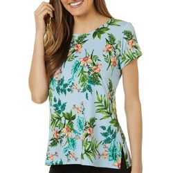 Como Voyage Womens Tropical Floral Short Sleeve Top