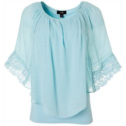 AGB Womens Solid Crochet Trim Poncho Top