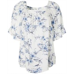 AGB Womens Floral Print Square Neckline Short Sleeve Top