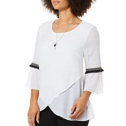 AGB Womens Solid Bell Sleeve Top And Necklace