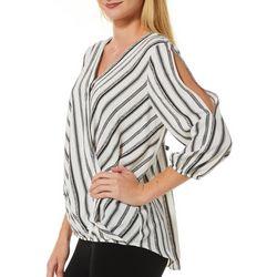 AGB Womens Striped V-Neck Wrap Top